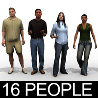 16 people - casual 3d model