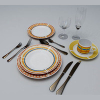 3d dishes cutlery