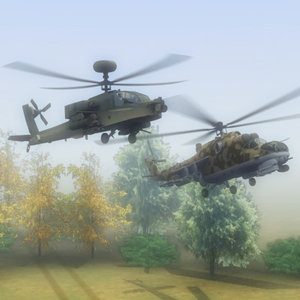 3d ah64d attack helicopter mi24 hind