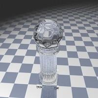 3d c4d glass football trophy