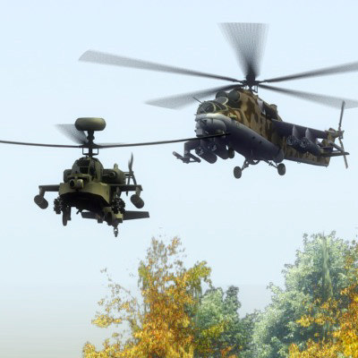 ah64d attack helicopter mi24 hind 3d model