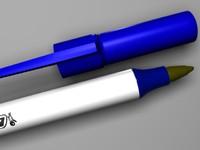 blue pen 3d model