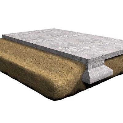 free foundation section concrete 3d model