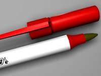 3d model bic pen red