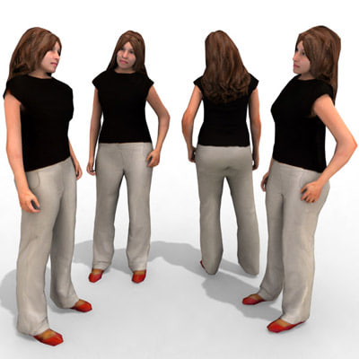 3d model of - casual female character
