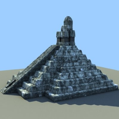 pyramid tikal guatemala 3d model
