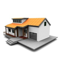american neighborhood house 3d model