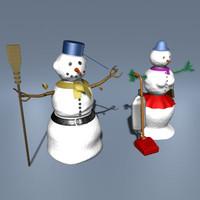 3d realistic snowman snowgirl model