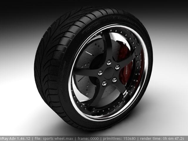 3d model rim tire sports car