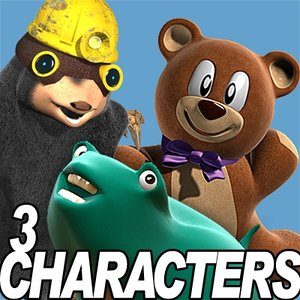 3 characters cartoon animation 3d model