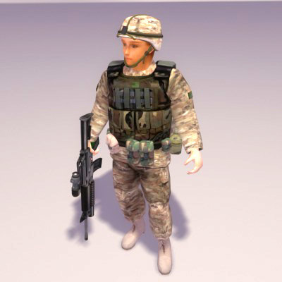 usmc female marine 3d model