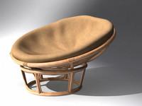 pier papasan chair furniture 3d model