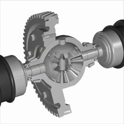 differential cutaway car 3d model