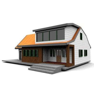 3d model american neighborhood house