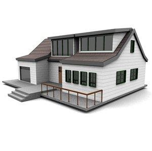 3d american neighborhood house