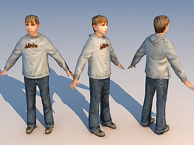 3d character teenager 02 model