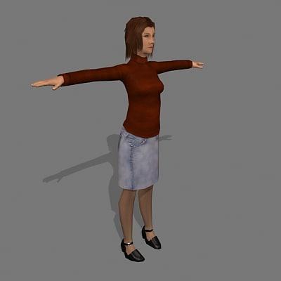 female civilian 3d max