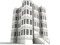old building 4 storey 3d model