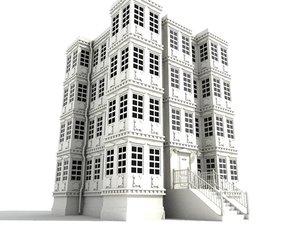 old building 4 storey 3d model