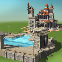 villa buildings houses 3d model