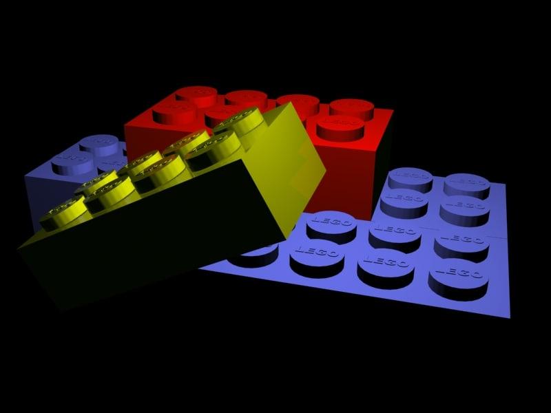 coloured lego blocks 3d model