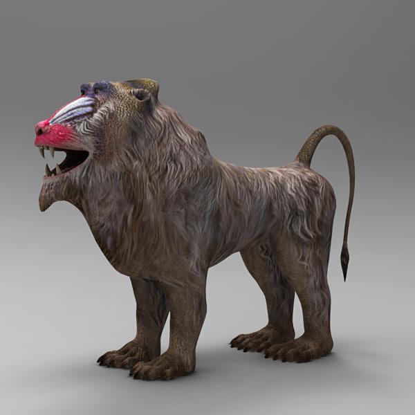 3d model baboon mandrillus