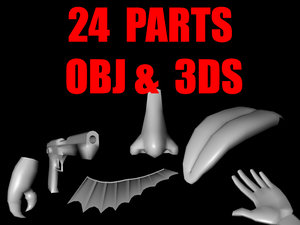 3ds teeth parts weapons pack