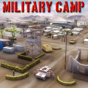 3d model of desert military base vehicles