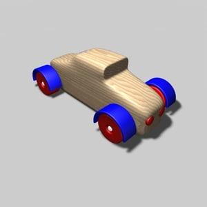 wooden car toy c4d