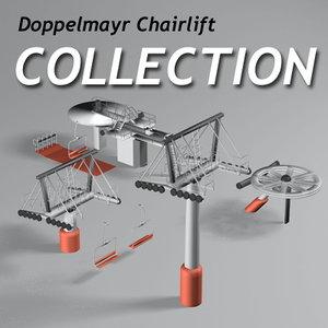 chairlift ski lifts 3d model