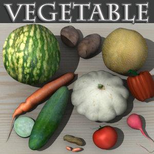 3d vegetable cucumber carrot model