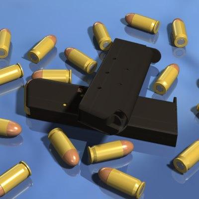 pistol magazine bullet shell 3d model