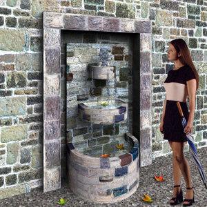maya stone fountain water