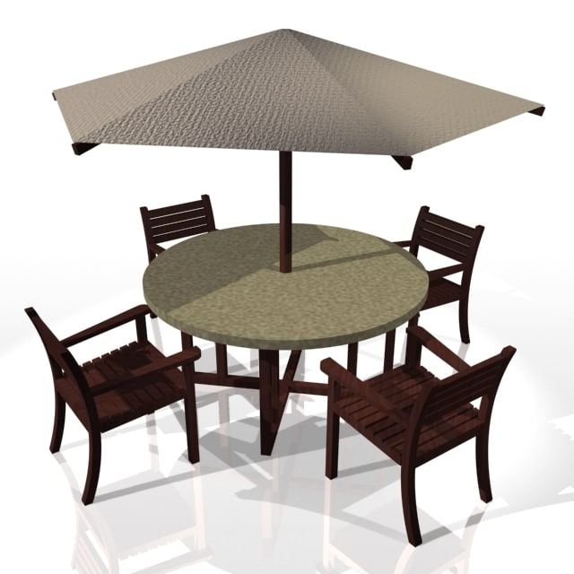 garden table chairs parasol 3d model