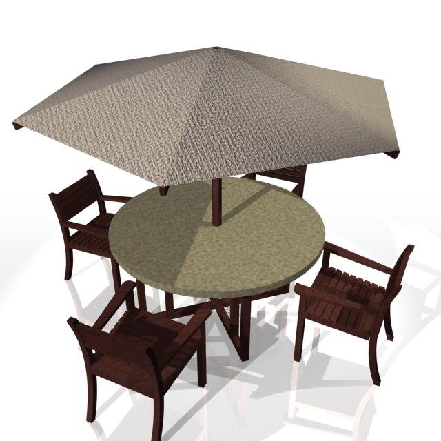 garden table chairs parasol 3d model - Garden Furniture 3d Model