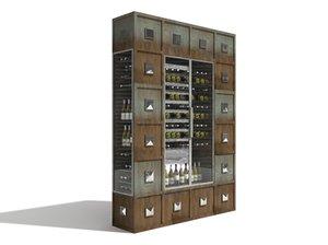 3dsmax large wine chiller fridge
