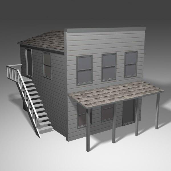 american prerailroad house 3d model
