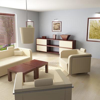 day room scene 3d model