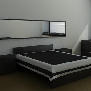 bedroom set bed 3d c4d