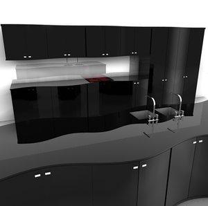 black kitchenset kitchen 3d dxf