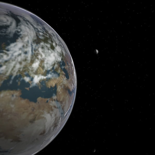3d model earth moon