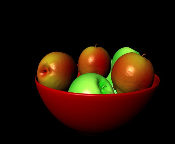 bowl apples 3d ma