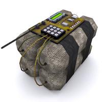 3d model detonation bomb