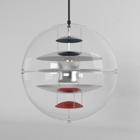 3d model of designed verner panton lamp