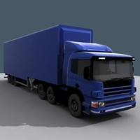 semi truck trailer cab 3d model