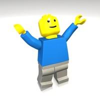 3d model block man
