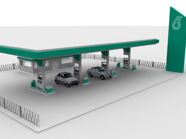 petronas gas station 3d model