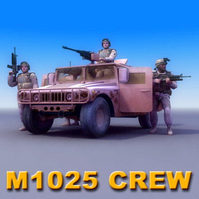 3d multi hmmwv crew model