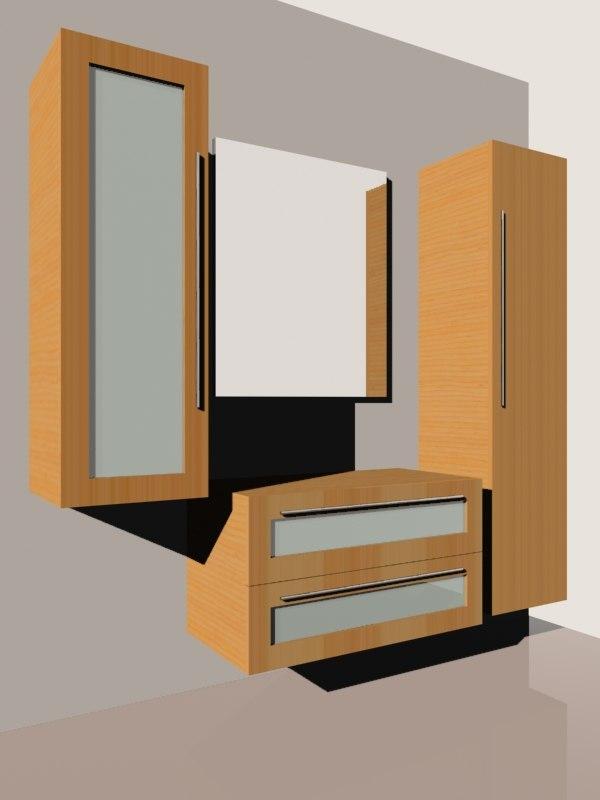 bathroom furnishing set 3d model