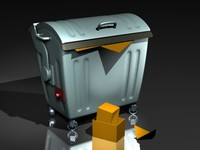 3d dumpster trashcan garbage container